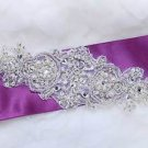 "Vintage Style Snow Snowflake Acrylic Beaded Pearl Dress Sash Belt Applique 7"""