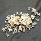 Gold Flower Beads Wedding Bridal Ivory Pearl Headpiece Hair Comb Fascinator