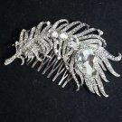 Feather Leaf Bridal Wedding Clear Rhinestone Crystal Hair Comb Headpiece