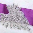 Wedding Bridal Dress Gown Gloves Sash Rhinestone Crystal Sew Iron Applique Pair