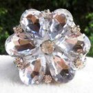 Clear Acrylic Crystal Wedding Flower Bridal Clear Tone Shoe Clips Charms Pair