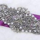 Vintage Style Flowers Pearl Rhinestone Crystal Wedding Bridal Applique DIY Craft