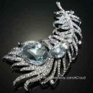 Bridal Wedding Feather Leaf Aurora Borealis Rhinestone Crystal Brooch Pin