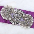 Pearl Beaded Crystal Rhinestone Wedding Bridal Dress Gown Sash Applique 4.2""