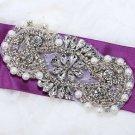 """Pearl Beaded Crystal Rhinestone Wedding Bridal Dress Gown Sash Applique 4.2"""""""