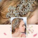 Feather Leaf Rhinestone Crystal Wedding Bridal Gold Tone Hair Alligator Clip