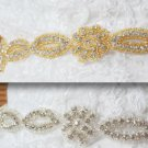 Gold Silver Wedding Beaded Rhinestone Crystal Applique Trim 1 Yard Craft DIY