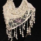 Winter Fashion Women Khaki Plain Lace Crochet Edge Stole Triangle Scarf Shawl