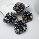 Dark Blue Beads Rhinestone Crystal Wedding Bridal Bow Shoe Clips Pair