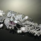 Faux Pearl Bridal Wedding Feather Leaf Silver Rhinestone Crystal Tiara Hair Comb