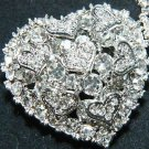 Heart Shape Rhinestone Crystal Wedding Bridal Shoe Decoration Charms Clips Pair