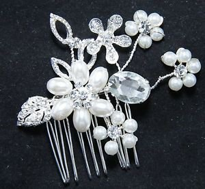 Wedding Bridal Faux Pearl Flower Rhinestone Crystal Headpiece Hair Comb Jewelry