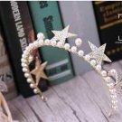 Christmas Star Faux Pearl Wedding Bridal Rhinestone Crystal Gold Hair Crown