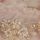 Wedding Bridal Ivory Pearl Vintage Gold Tone Headband Bride Hair Accessories