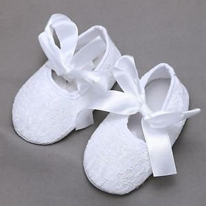 Infant Newborn 0-18 mths Baby Girl White Flower Lace Ribbon Bow Ties Shoes