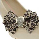 Sexy Leopard Skin Pattern Ribbon Bow Rhinestone Crystal Wedding Shoe Clips Pair
