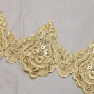 Bridal Wedding Veil Dress Gold Sequin Flower Embroidered Lace Trim Per 1/2 Yard