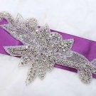 Wedding Bridal Flower Leaf Vintage Style Sew Iron On Rhinestone Beaded Applique
