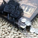 Rose Satin Black Feather Copper Chain Groom Men Suit Corsage Brooch Pin