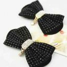 A Pair Black Beaded Beads Rhinestone Drop Decorative Black Bow Shoes Clips