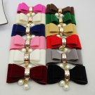 Simple Fashion Winter Boots Velvet Ribbon Faux Pearl Bow Shoe Clips Pair