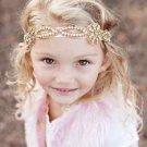 Flower Girl Silver Gold Rhinestone Crystal Wedding Ivory Applique Headband