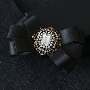 Faux Pearl Vintage Crystal Wedding Party Mens Pre-Tied Bow Tie Tie Bowtie