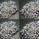 Lot Of 4 Wedding Bridal Dress Sash Hair Rhinsetone Crystal Brooch Pin Jewelry