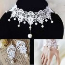 Wedding Bridal Off White Lace Necklace Bracelet Earrings Set Jewelry Accessories