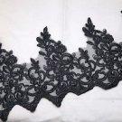 Bridal Wedding Black Embroidered Lace Trim Dress Veil Craft DIY Per Yard
