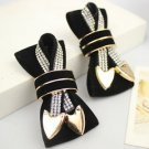 A Pair Winter Boots Velvet Ribbon Bow Heart Buckles Shoe Decoration Clips