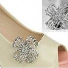 Vintage Style Wedding Bridal Rhinestone Flower Crystal Shoe Clips Pair