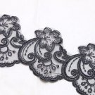 Bridal Wedding Veil Dress Black Flower Embroidered Lace Sequin Trim Per 1 Yard