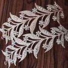 Wedding Rhinestone Crystal Rose Gold/Silver Hair Tiara Feather Leaf Headpiece