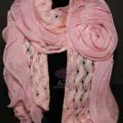 Winter Fashion Pink Big Rose Flower Ruffle Embroidery Long Scarf Shawl