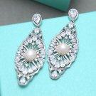 Gorgeous Large Chandelier Platinum Plated Cubic Zirconia Dangle Stud Earrings