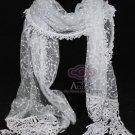 Vintage Costume Fashion Winter Light Grey Gray Lace Crochet Long Scarf Shawl
