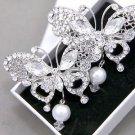 Faux Pearl Drop Butterfly Rhinestone Crystal Wedding Bridal Hair Alligator Clip