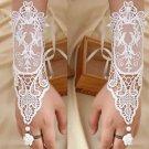 2 pcs x White Rococo Lace Wedding Bridal Faux Pearl Flower Bracelet Gloves