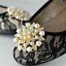 Fashion Wedding Bridal Pearl Gold Silver Rhinestone Crystal Shoe Boots Clips