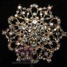 Wedding Bridal Silver Or Gold Tone Rhinestone Crystal Flower Brooch Pin Jewelry