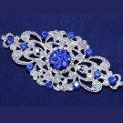 Wedding Bridal Dress Gown Silver Tone Royal Blue Rhinestone Crystal Brooch Pin