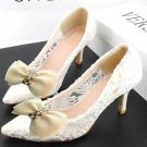 A Pair Fashion Ivory Beige Grosgrain Rhinestone Crystal Bow Ribbon Shoe Clips