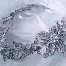 Wedding Bridal Silver Flower Rhinestone Crystal Dress Sash Belt Accessories