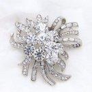 Wedding Bridal Vintage Style Rhinestone Crystal Cake Dress Brooch Pin