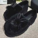 Winter Boots Charms Black Ivory Navy Blue Rabbit Ears Faux Fur Shoe Clips Pair