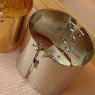 Women Copper Mirror Plain Silver Tone Fashion Bracelet Bangle Cuff Jewelry