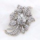 Clear Crystal Rhinestone Silver Tone Flower Wedding Brooch Pin Jewelry