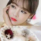 Posh Pom Faux Fur Fuzzy Crystal Rhinestone Star Earrings Winter Jewelry