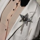 Party Black Corsage Bouquinerie Metal Tassel Applique Star Patch Brooch Pin